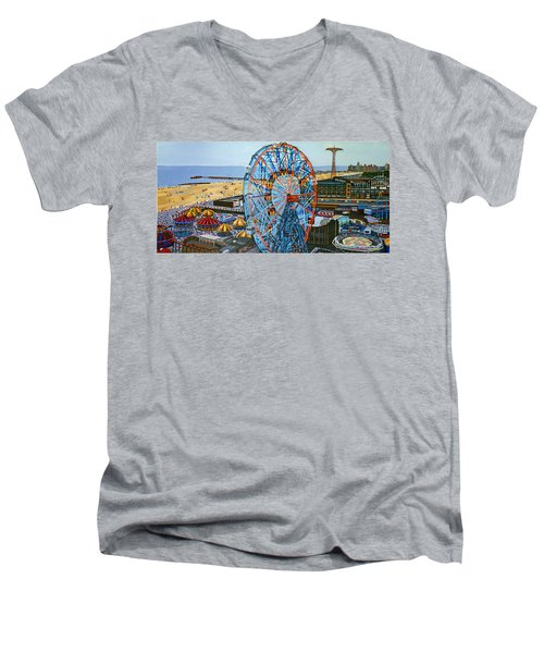 View From The Top Of The Cyclone Rollercoaster Men's V-Neck T-Shirt
