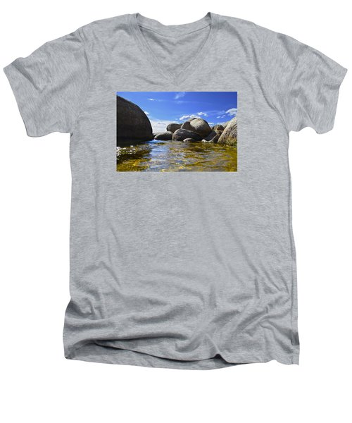 View From The Water Of Lake Tahoe Men's V-Neck T-Shirt by Alex King