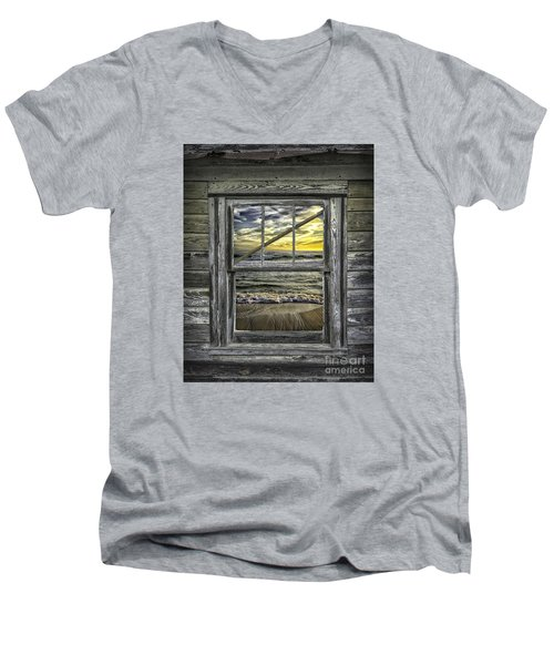 View From Weathered Beach Cottage Men's V-Neck T-Shirt by Walt Foegelle