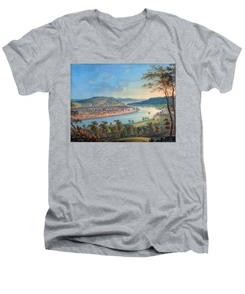 Men's V-Neck T-Shirt featuring the painting View Of Cincinnati From Covington by John Caspar Wild