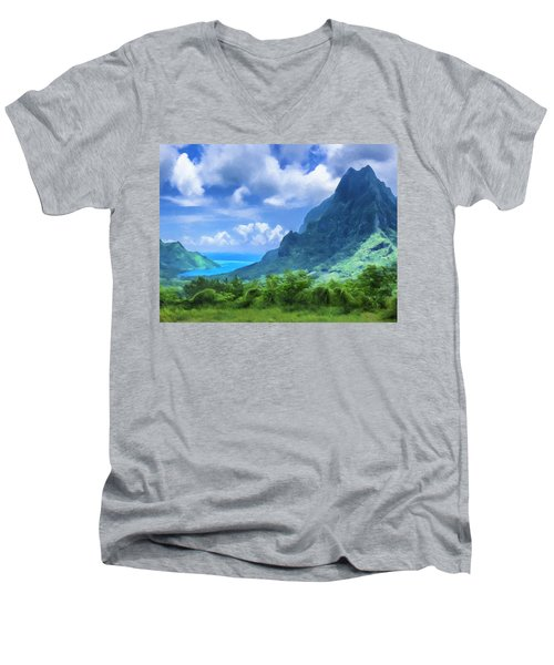 View Of Cook's Bay Mo'orea Men's V-Neck T-Shirt