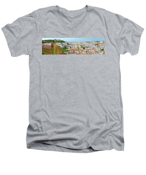 Men's V-Neck T-Shirt featuring the photograph View Of Lisbon by Patricia Schaefer