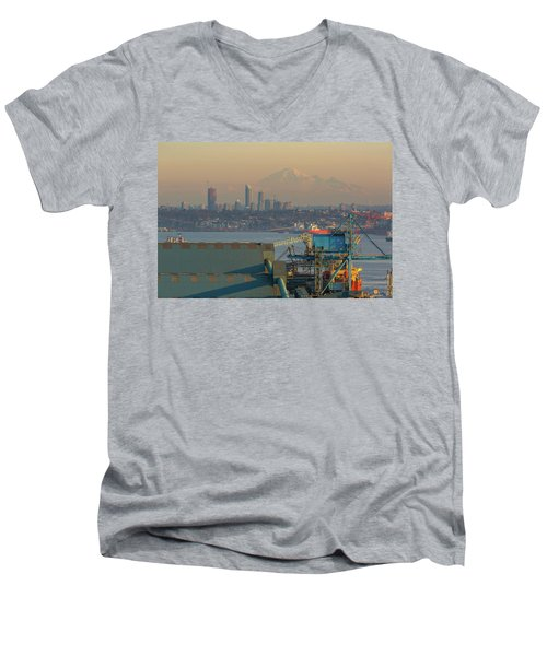 View Of Mount Baker And Vancouver Bc At Sunset Men's V-Neck T-Shirt