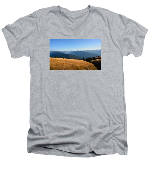 View Of Olympics From Hurricane Ridge Men's V-Neck T-Shirt