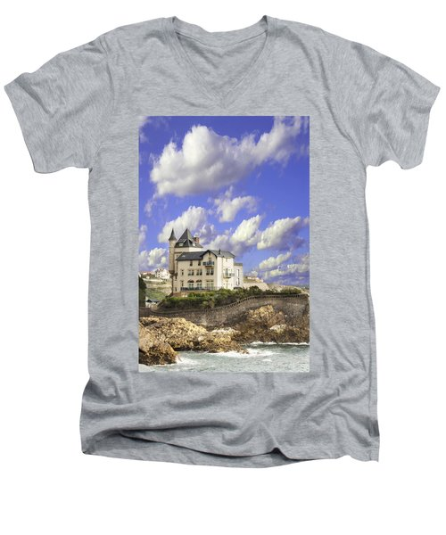 View Of The Beautiful Castle On The Bay Of Biscay Of The Atlantic Ocean Men's V-Neck T-Shirt