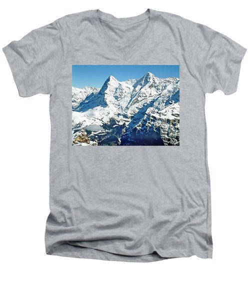 View Of The Eiger From The Piz Gloria Men's V-Neck T-Shirt by Joseph Hendrix