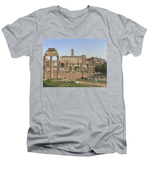 View Of The Forum In Rome Men's V-Neck T-Shirt