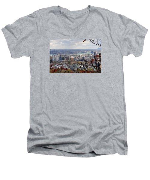 View Of The Jacques Cartier Bridge Men's V-Neck T-Shirt by Reb Frost