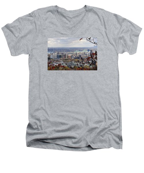 View Of The Jacques Cartier Bridge Men's V-Neck T-Shirt