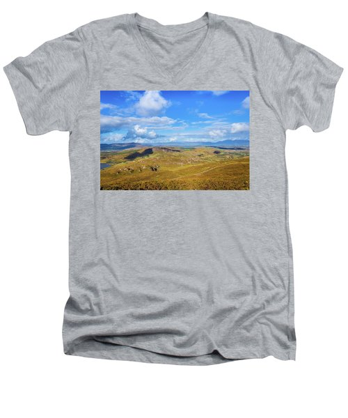 Men's V-Neck T-Shirt featuring the photograph View Of The Mountains And Valleys In Ballycullane In Kerry Irela by Semmick Photo