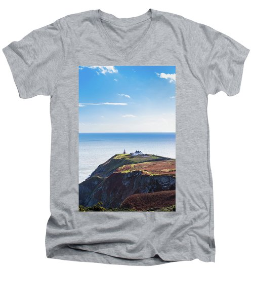 View Of The Trails On Howth Cliffs With The Lighthouse In Irelan Men's V-Neck T-Shirt by Semmick Photo