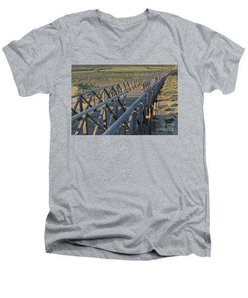 View Of The Wooden Bridge In Quinta Do Lago Men's V-Neck T-Shirt