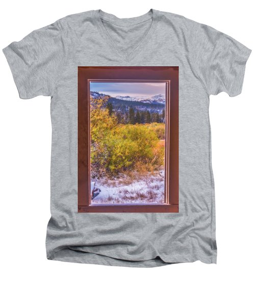 View Out The Frame Of A Broken Window Men's V-Neck T-Shirt by Marc Crumpler