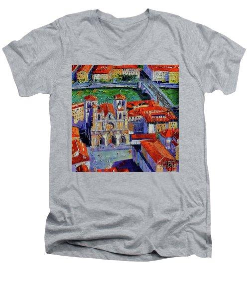 View Over Cathedral Saint Jean Lyon Men's V-Neck T-Shirt