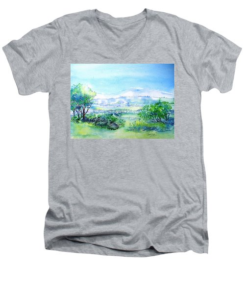 View Through The Gap,wicklow  Men's V-Neck T-Shirt by Trudi Doyle