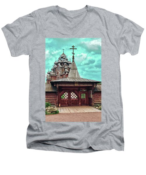 views of Holy gates and Church of the Intercession of the blessed virgin Mary Men's V-Neck T-Shirt