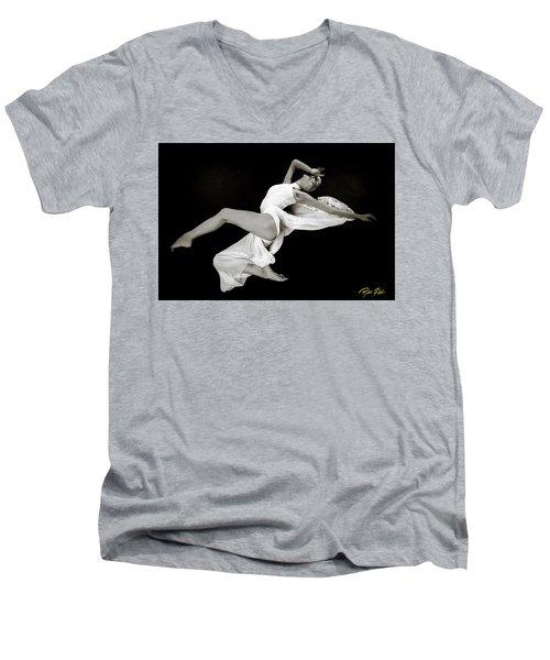 Men's V-Neck T-Shirt featuring the photograph Viktory On Black by Rikk Flohr