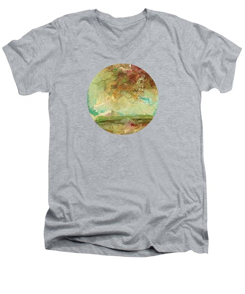 Men's V-Neck T-Shirt featuring the painting Villa by Mary Wolf