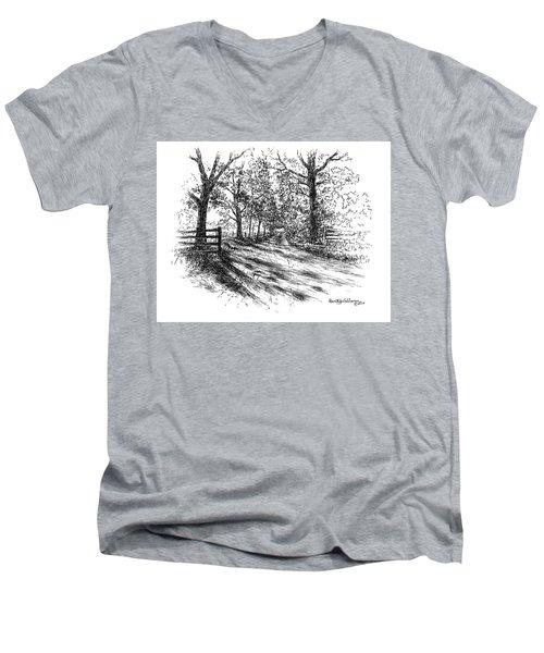 Villa Road At Sunset Men's V-Neck T-Shirt