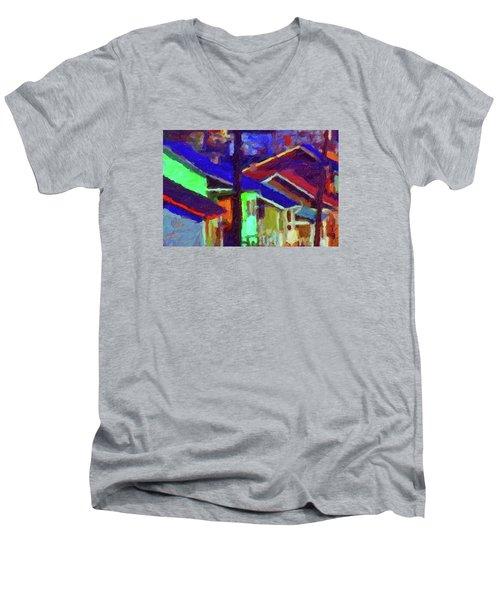Village Houses Men's V-Neck T-Shirt by Richard Farrington