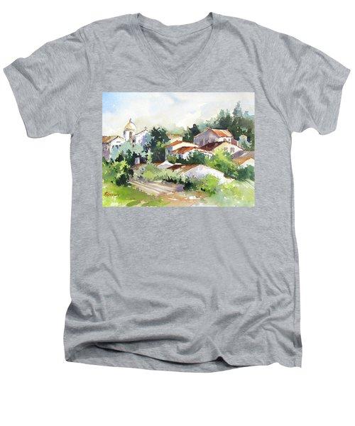 Village Life 5 Men's V-Neck T-Shirt by Rae Andrews