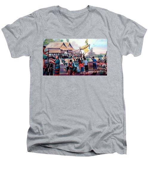 Village Rocket Festival-vintage Painting Men's V-Neck T-Shirt by Ian Gledhill
