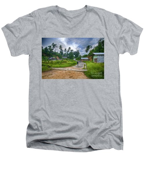 Men's V-Neck T-Shirt featuring the photograph Village Scene by Charuhas Images