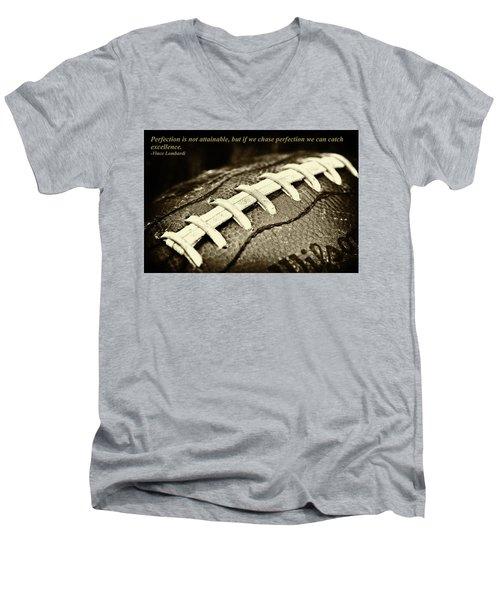 Vince Lombardi Perfection Quote Men's V-Neck T-Shirt