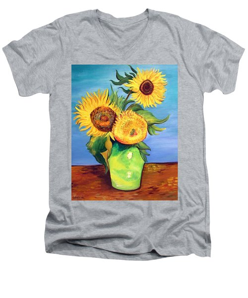 Men's V-Neck T-Shirt featuring the painting Vincent's Sunflowers by Patricia Piffath