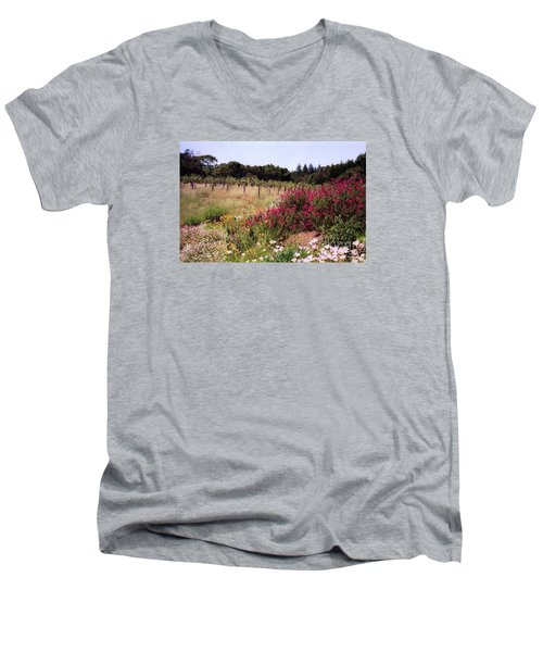 vines and flower SF peninsula Men's V-Neck T-Shirt by Ted Pollard