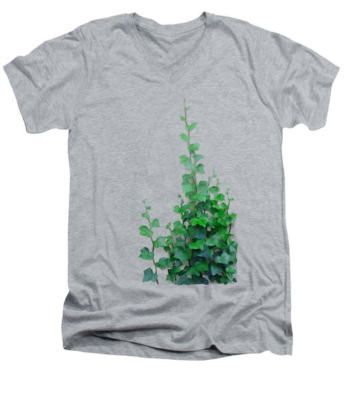 Men's V-Neck T-Shirt featuring the painting Vines By The Wall by Ivana