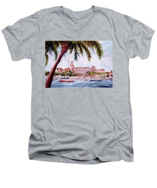 Vinoy View Men's V-Neck T-Shirt by Roxanne Tobaison