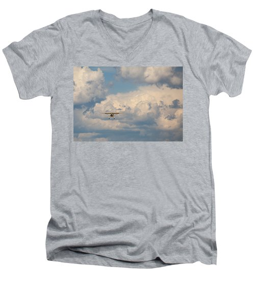 Men's V-Neck T-Shirt featuring the photograph Vintage Airplane by Fran Riley