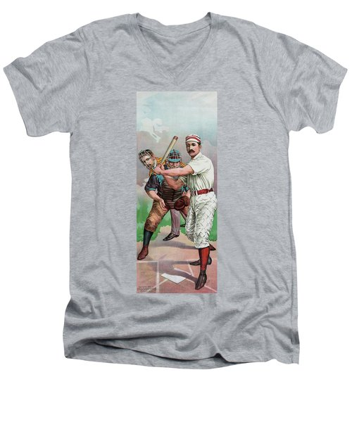 Vintage Baseball Card Men's V-Neck T-Shirt by American School