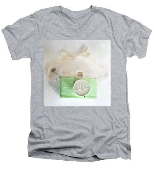 Vintage Camera Fun Splashes Men's V-Neck T-Shirt by Terry DeLuco