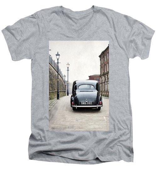 Vintage Car On A Cobbled Street Men's V-Neck T-Shirt by Lee Avison