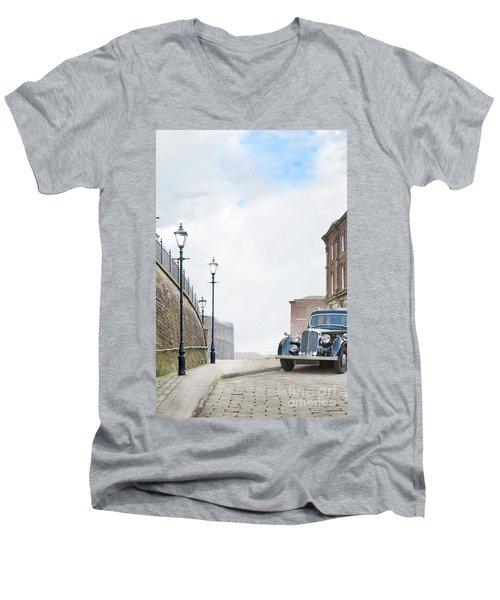 Vintage Car Parked On The Street Men's V-Neck T-Shirt by Lee Avison