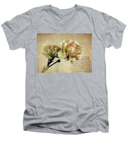 Vintage Carnations Men's V-Neck T-Shirt by Judy Vincent