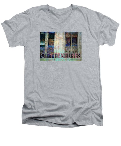 Men's V-Neck T-Shirt featuring the mixed media Vintage City Textures by John Fish