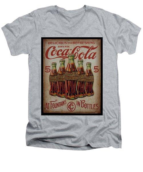 vintage Coca Cola sign Men's V-Neck T-Shirt