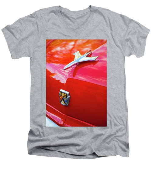 Men's V-Neck T-Shirt featuring the photograph Vintage Ford Hood Ornament Havana Cuba by Charles Harden