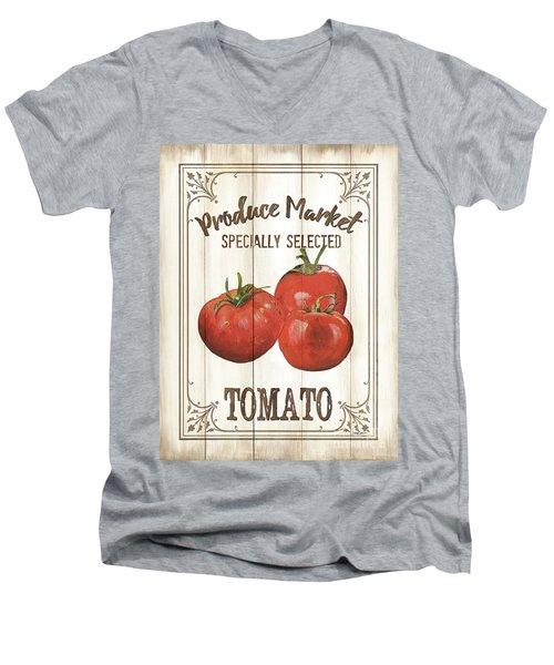 Men's V-Neck T-Shirt featuring the painting Vintage Fresh Vegetables 4 by Debbie DeWitt