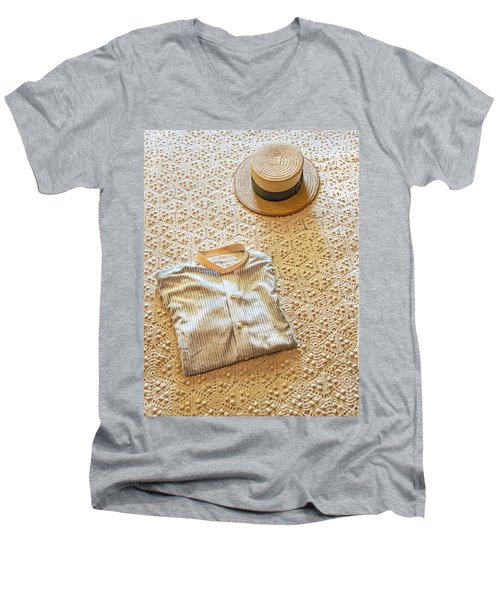 Men's V-Neck T-Shirt featuring the photograph Vintage Golfer's Hat And Shirt by Gary Slawsky