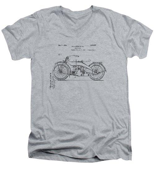 Vintage Harley-davidson Motorcycle 1924 Patent Artwork Men's V-Neck T-Shirt