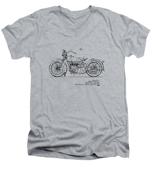 Vintage Harley-davidson Motorcycle 1928 Patent Artwork Men's V-Neck T-Shirt by Nikki Smith