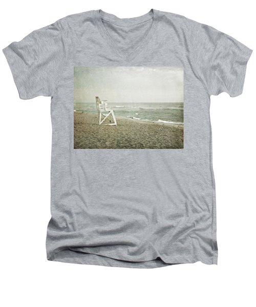 Vintage Inspired Beach With Lifeguard Chair Men's V-Neck T-Shirt by Brooke T Ryan