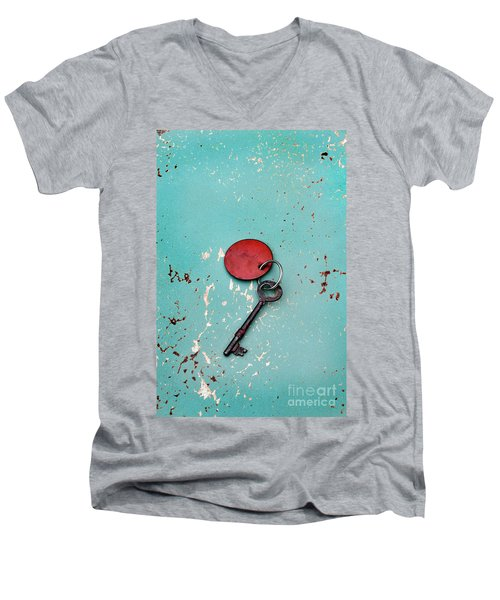 Men's V-Neck T-Shirt featuring the photograph Vintage Key With Red Tag by Jill Battaglia
