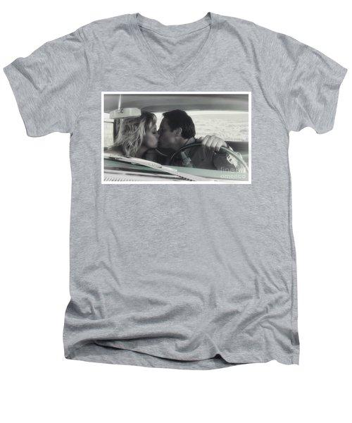 Vintage Kiss Men's V-Neck T-Shirt by Brad Allen Fine Art