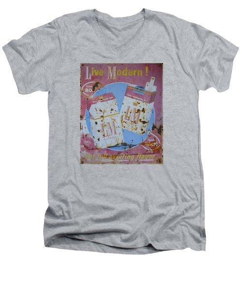 Vintage L And M Cigarette Sign Men's V-Neck T-Shirt by Christina Lihani