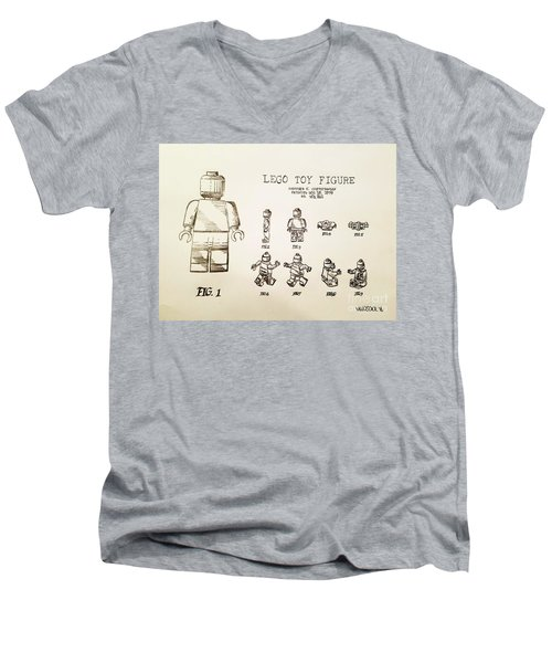 Vintage Lego Toy Figure Patent - Graphite Pencil Sketch Men's V-Neck T-Shirt